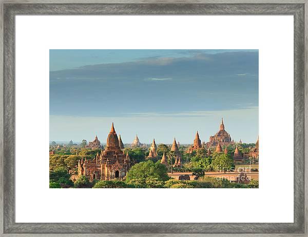 The Temples Of Bagan At Sunrise, Bagan Framed Print