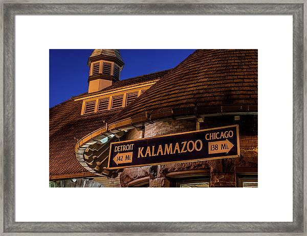 The Train Station In Kalamazoo Framed Print