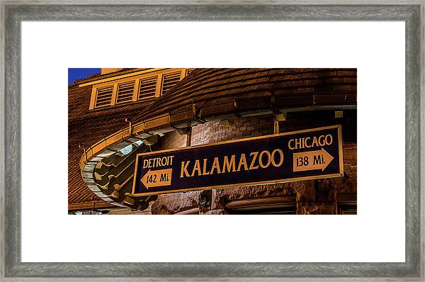 The Train Station Sign In Kalamazoo Framed Print