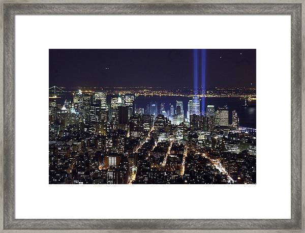 The Tribute In Light - Two Tall Shafts Framed Print