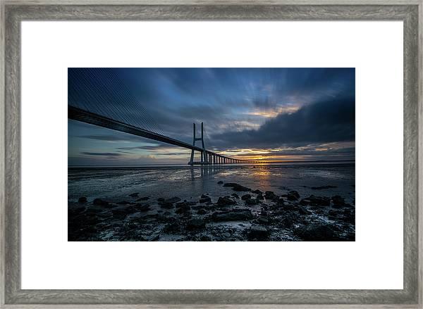 The Vasco Da Cama Bridge In Lisbon Portugal Framed Print