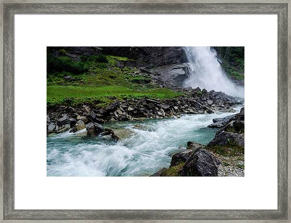 The Waterfall And The River Framed Print