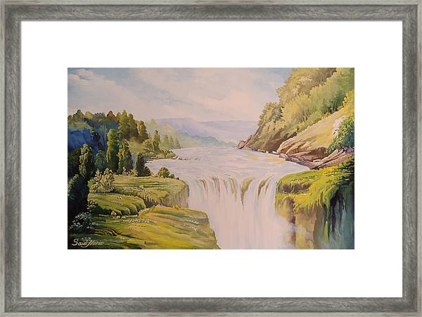 Framed Print featuring the painting The Waterfall by Said M Marie