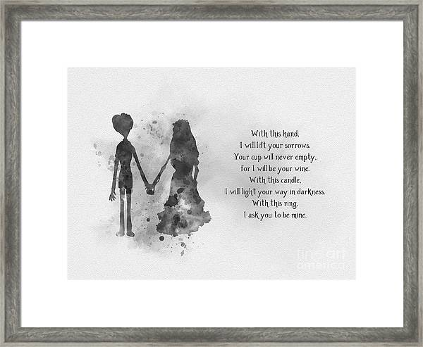 The Wedding Vows Black And White Framed Print