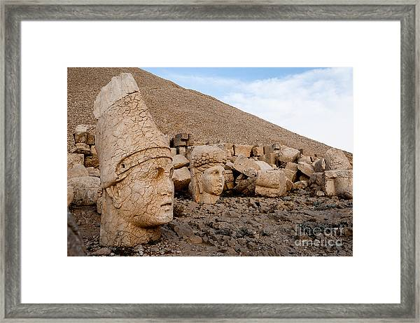 The West Terrace Of Mount Nemrut With Framed Print