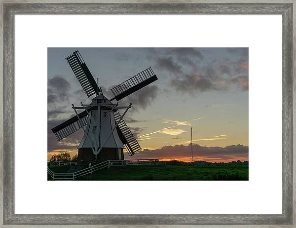 Framed Print featuring the photograph The White Mill by Anjo Ten Kate