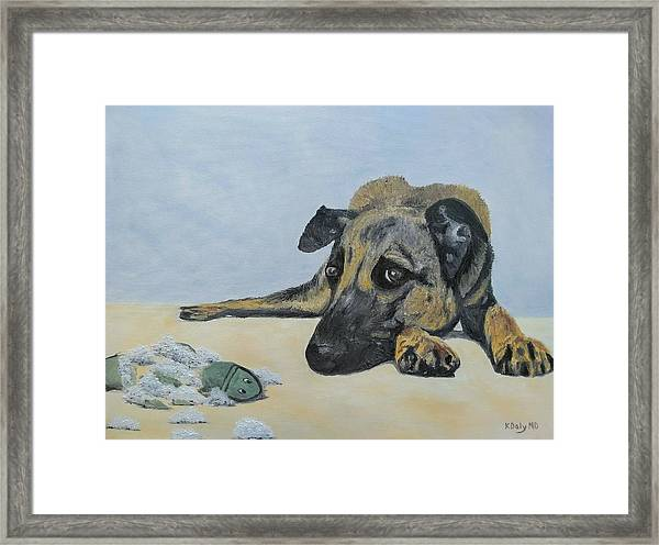 Framed Print featuring the painting This Toy Is Defective by Kevin Daly