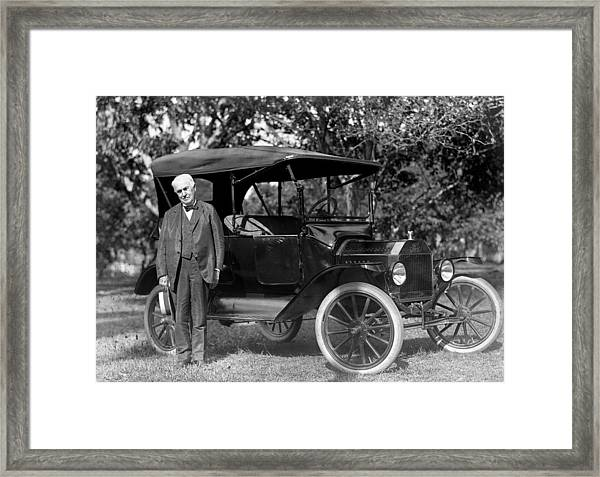 Thomas Edison And His 1914 Ford Touring Framed Print