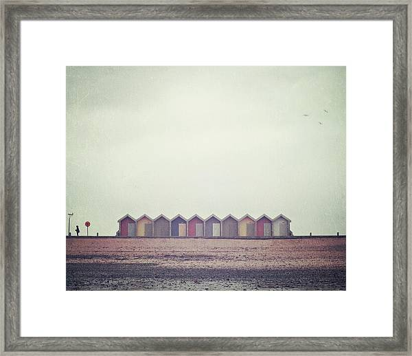 Three Birds And Some Beach Huts Framed Print