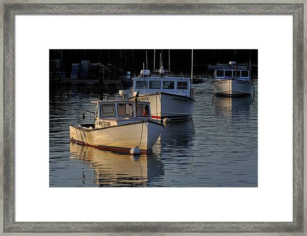 Three Boats In Maine Framed Print