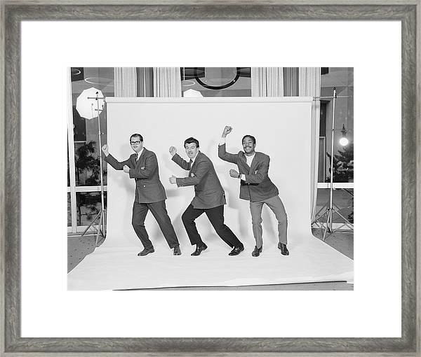 Three Men Gesturing Against White Framed Print