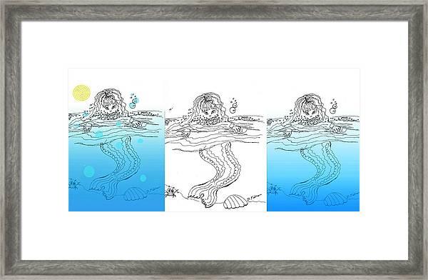 Three Mermaids All In A Row Framed Print