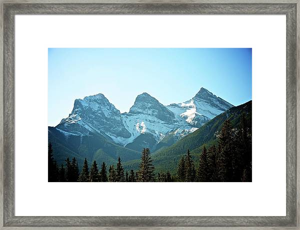 Three Sisters Mountains Framed Print