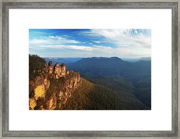 Three Sisters Rock Formation, Blue Framed Print