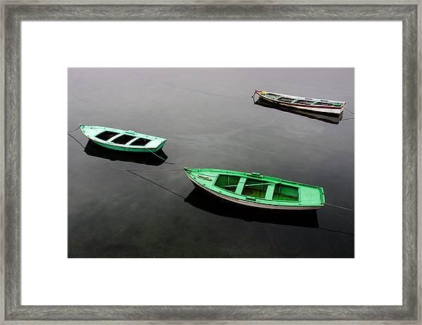 Three Small Fishing Boats Resting Framed Print