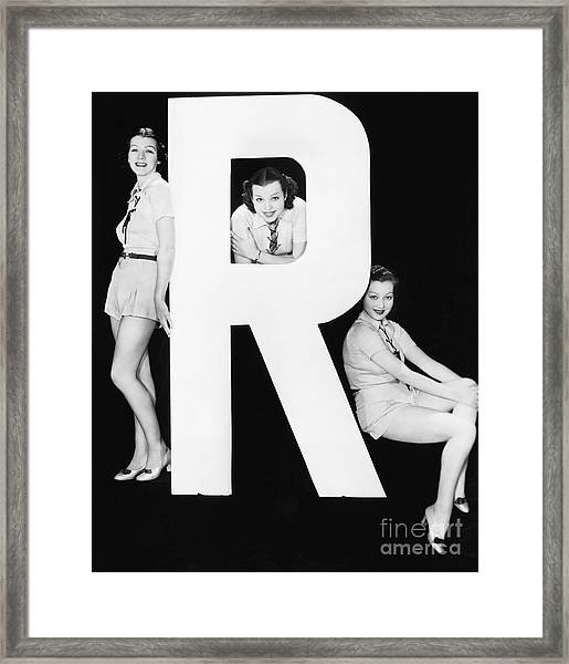 Three Women Posing With Huge Letter R Framed Print