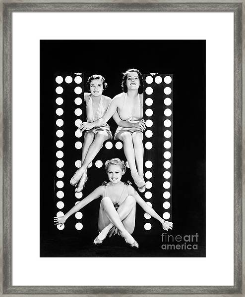 Three Young Women Posing With The Framed Print