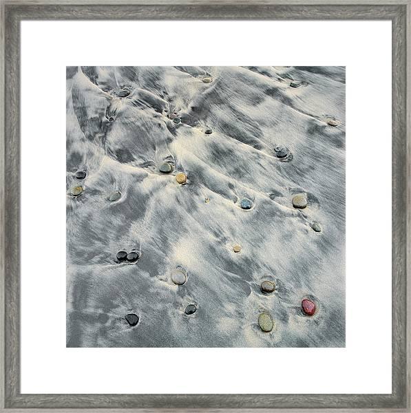 Tide Flowing Over Rocks On Beach Framed Print