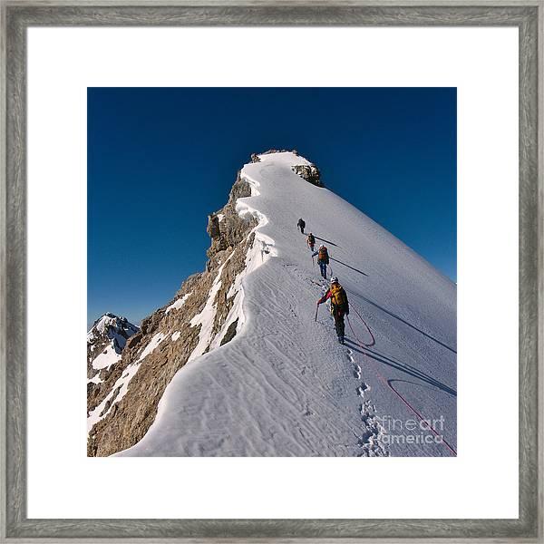 Tied Climbers Climbing Mountain With Framed Print by Taras Kushnir
