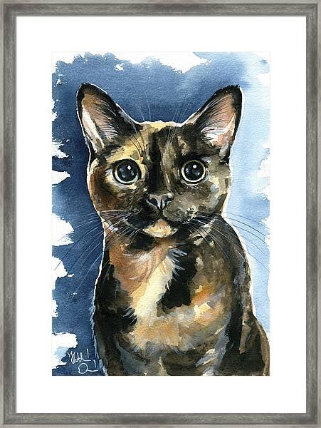 Tiffany Tortoiseshell Cat Painting Framed Print