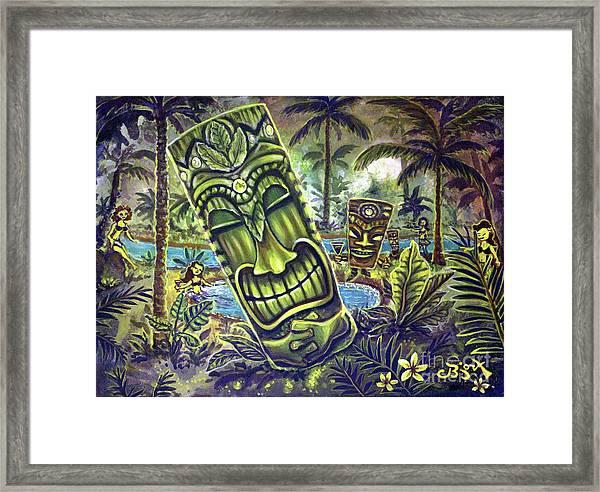 Tiki Genie's Sacred Pools Framed Print