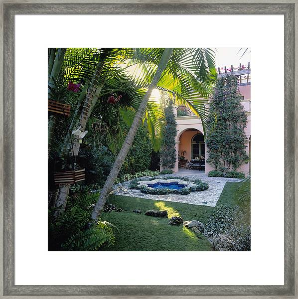 Tiled Fountain, Palm Beach, Florida Framed Print
