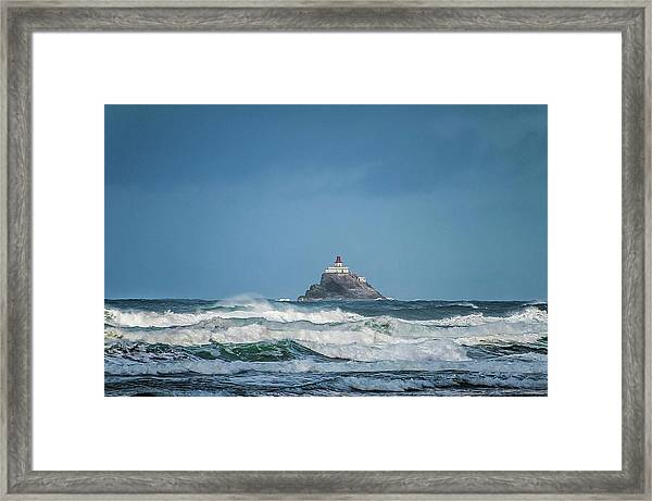 Tillamook Rock Lighthouse Near Cannon Beach Framed Print