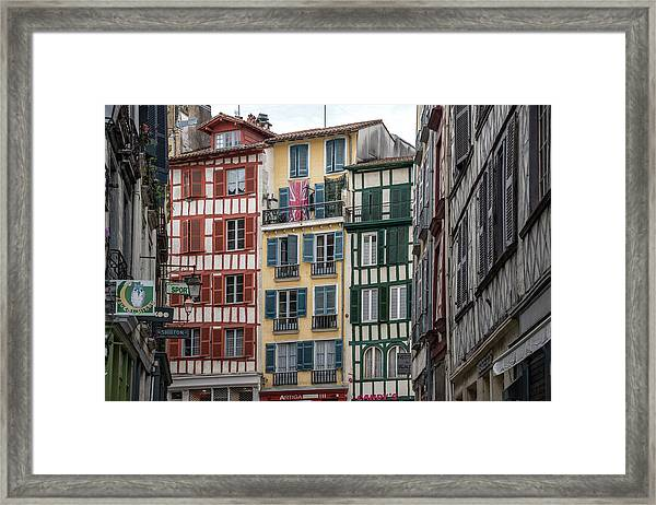 Timbered Buildings In Grand Bayonne Framed Print