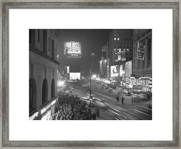 Times Square At Night Before A Partial Framed Print