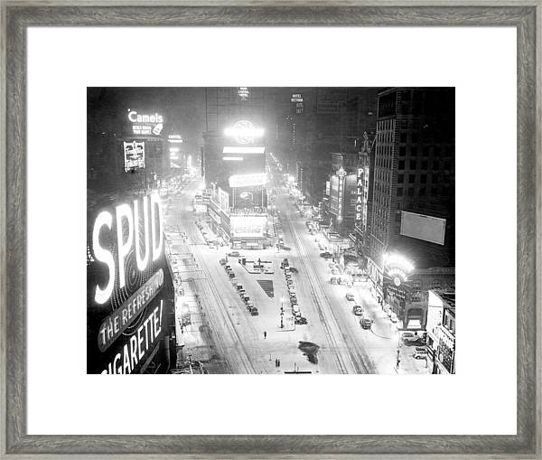 Times Square Is Covered In A White Framed Print