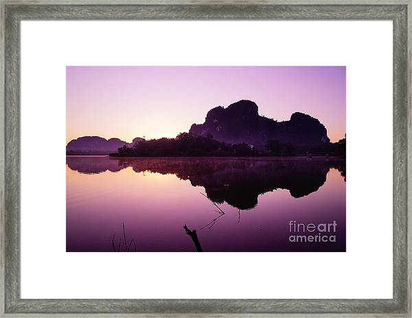 Title  The Peaceful Mountain Framed Print by Pk Kaew