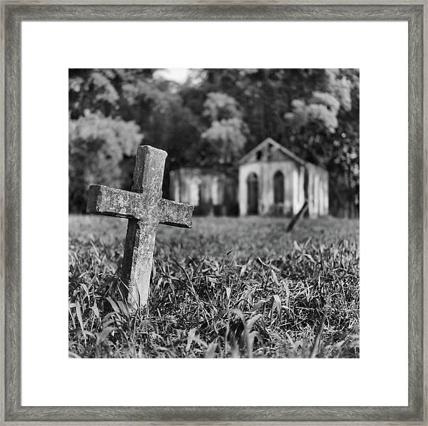 Tombstone, St. Chad's, Trinidad Framed Print