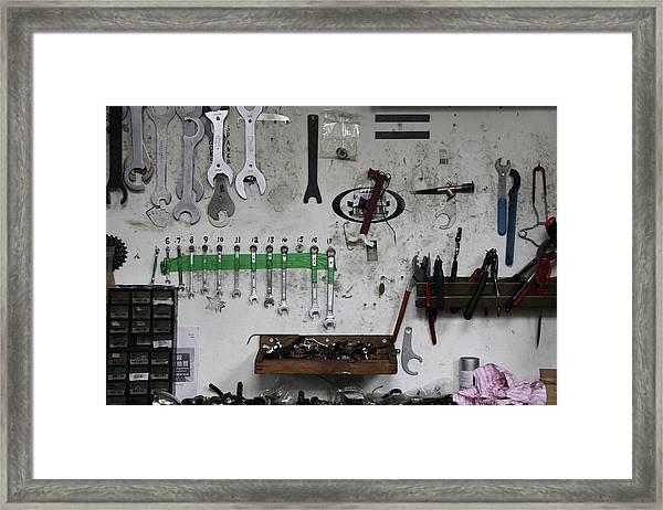 Tools In A Workshop Framed Print by Greg Burke