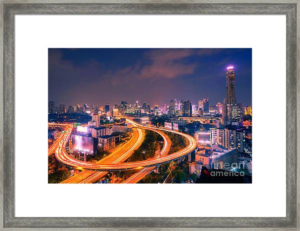 Top View Highway Road Curved Long Framed Print