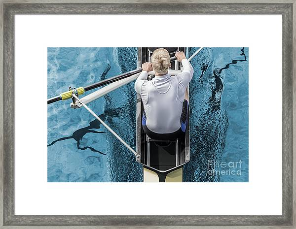 Top View Of Athletic Competition Rower Framed Print