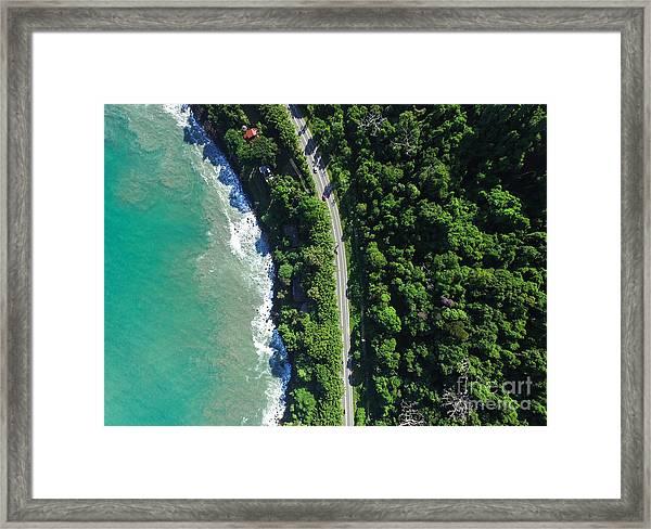 Top View Of Highway In A Coastline Framed Print
