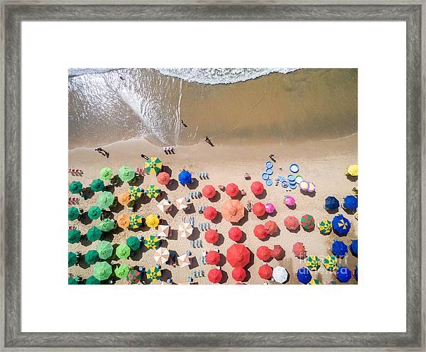 Top View Of Umbrellas In A Beach Framed Print