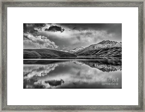 Topaz Lake Winter Reflection, Black And White Framed Print