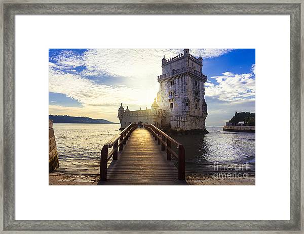 Torre De Belem - Famous Landmark Of Framed Print