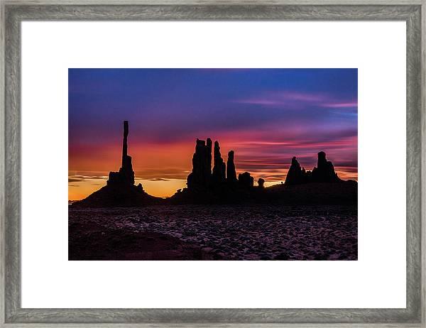 Totem Pole And Yei Bi Chei Sunrise Framed Print