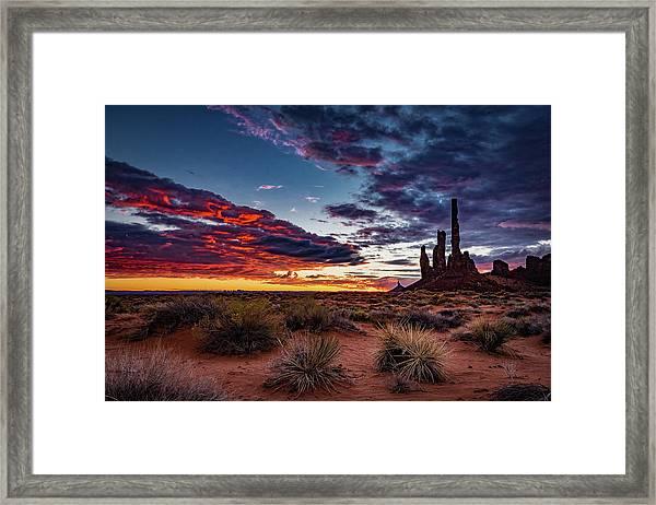 Totem Pole Sunrise Framed Print