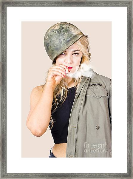 Tough And Determined Female Pin-up Soldier Smoking Framed Print