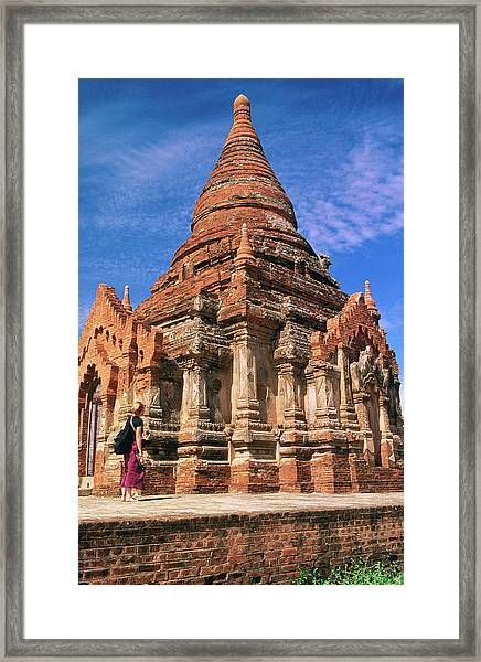 Tourist At Izagonna Temple Complex Framed Print by Anthony Plummer