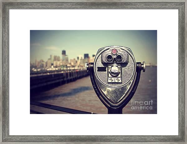 Tourist Binoculars At Liberty Island In Framed Print
