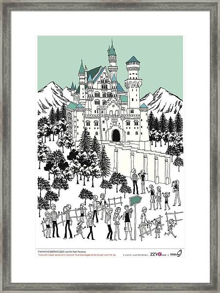 Tourist By Castle On Snow-covered Land Framed Print