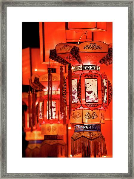 Traditional Chinese Lantern Framed Print by Ymgerman