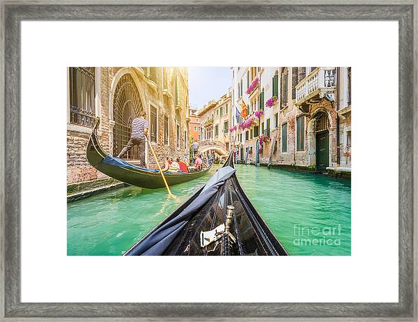 Traditional Gondolas On Narrow Canal In Framed Print
