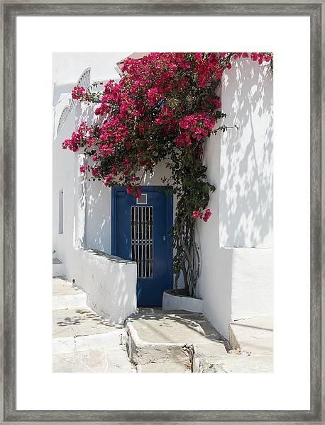 Traditional Greek Island House Entrance Framed Print