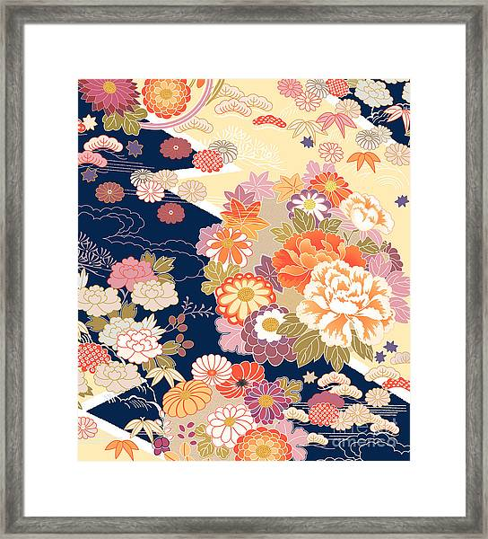 Traditional Kimono Motifs Framed Print