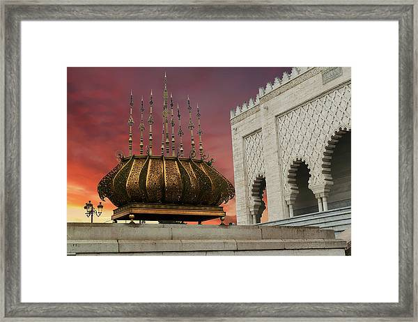 Traditional Outdoor Lighting Urn, Mausoleum Framed Print